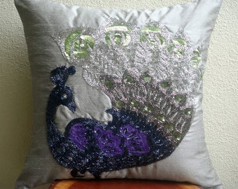 Decorative Pillow Sham Cover Accent Pillows Couch Pillow 24x24 Inch Silver Silk Pillow Sham Cover Sequins Embroidered Silver Dancing Peacock