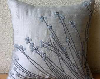 "Designer Light Grey Throw Pillows Cover, 16""x16"" Silk Throw Pillows Cover, Square  3D Sea Sheel Sequins Pillows Cover - Soft Gray Shells"