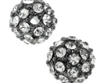 6mm pave crystal beads, Gunmetal with crystals (1)