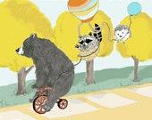 Bear Raccoon and Hedgehog.  Three Best Friends Animal Decor.  Animal Wall Art