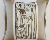 decorative sofa cushion/decorative pillow/scatter cushion/accent cushion pillow/flower cushion/beige/white/mint green/flowers/spring/linocut