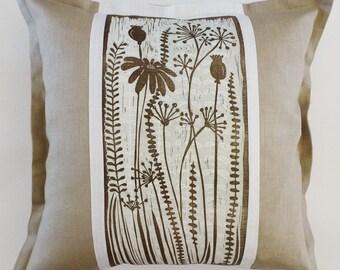 decorative sofa cushion/decorative pillow/scatter cushion/accent cushion pillow/flower cushion/beige/white/mint green/flowers/spring/linocut