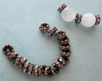 30 Pieces of Bronze Color Clear Rhinestones Spacers Jewelry Finding