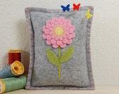 Flower Pincushion • Small Pillow • Pink Dahlia • Hand Embroidered • Wool Felt • Grey
