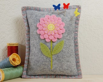 Flower Pincushion • Pink Dahlia on Grey Wool Felt • Hand Embroidered • Small Pillow