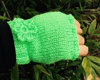 Lime green handwarmers, fluorescent green fingerless gloves, with crochet flowers