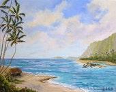 TROPICAL TIKI HUT XLarge Original Oil Painting 24x30 Palette Knife Art Ocean Hawaii Tahiti Tropics Palm Tree Little Grass Shack Hawaiian