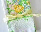 country cottage bouquet of flowers pillowcase--vintage Cannon linens