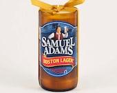 Samuel Adams Boston Lager Beer Bottle Candle Blue Tan American USA Patriot US Boston Massssachusetts America Boston Beer Company Sam Adams