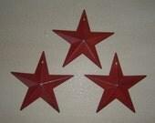 "Primitive Tin Metal Barn Star Ornament Ornie Set/3 Burgandy  8"" Craft Supplies"