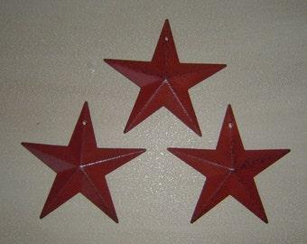 "Primitive Tin Metal Barn Star Ornament Ornie Set/3 Burgandy  5 1/2"" Craft Supplies"