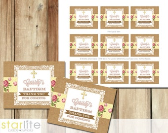 Baptism Favors Tags, cupcake toppers - burlap lace English Rose Yellow - blessing, christening, dedication - first communion, printable