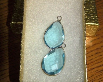 Faceted Aqua Dangles in Sterling for Interchangeable Leverback Earrings