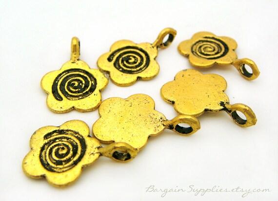 gold flower charms, set of 80, antique gold color, jewlery supplies sale, bead destash, metal flower pendant, golden flower, flower charm