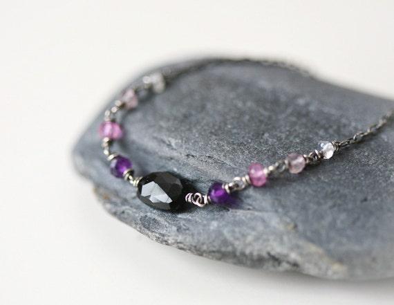 Purple Night - Black Onyx Ombre Gem Arrangement Sterling Silver Bracelet