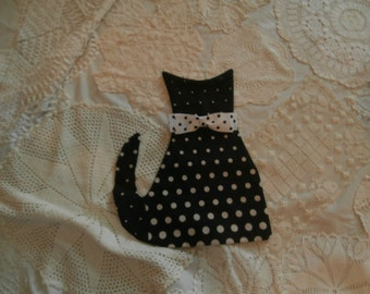 POLKADOT  FABRIC  CAT  applique or Pillow Cover For Diy Cat Pillow bonus polka dot bow tie Hold for Sheri