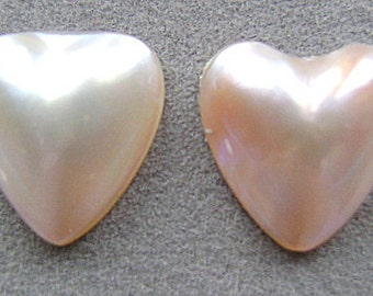 PEARLS, NATURAL, Heart, Cabochon, Glue on, Stud, White, AA,  Brilliant, Earring