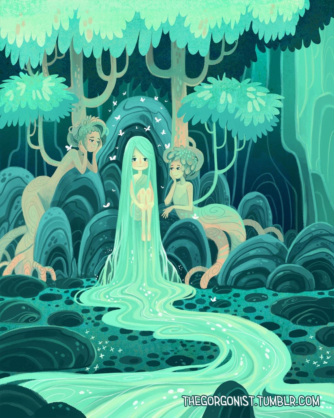 Waterfall Nymph 5x7 inch fantasy art mini print
