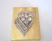 Vintage Rhinestones and silvertone metal in a multi layer Heart Design Pin/Pendent