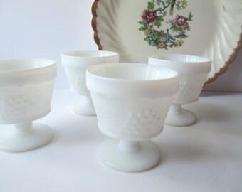 Vintage Milk Glass Grapevine Footed Sherbets Set of Four
