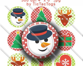 Christmas Bottle Cap Images Digital Art Collage Set 1 Inch Circle - Instant Download - BC400