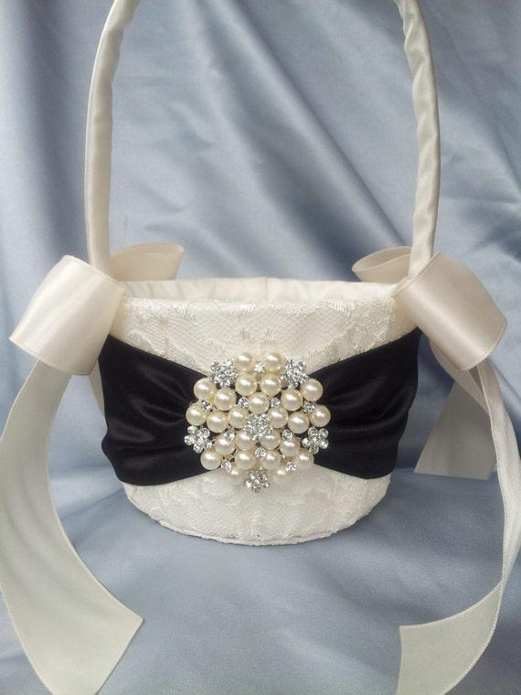 Flower Girl Baskets Black : Ivory black flower girl basket pearl
