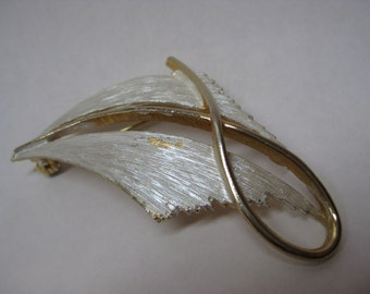 Gold White Brooch Modern Vintage Pin
