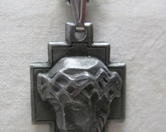 Jesus Pewter Necklace Vintage Pendant