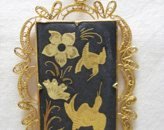 Damascene Flower Bird Necklace Filigree Gold Black Enamel Vintage Pendant
