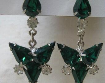 Green Rhinestone Dangle Earrings Pierced Post Silver Clear Vintage