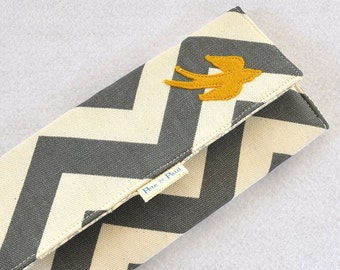 WALLET /// Chevron Wallet, Bird Wallet, Gray and Yellow Women's Checkbook Wallet