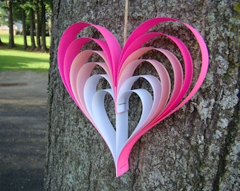 Paper Heart Garland - Pink Ombre Hearts - 5' Garland - Valentines Day Decor - Wedding Decor