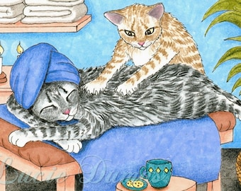 Art print 5x7 from funny ACEO painting Cat 456 massage by Lucie Dumas