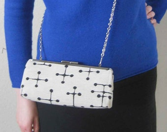 BAGUETTE Style Modern Clutch - Eames Small Dot Fabric - Ivory Black - Mid Century - Made to Order