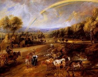 Landscape with Rainbow by Peter Paul Rubens - an Original, Vintage 1954 Frameable Art Print