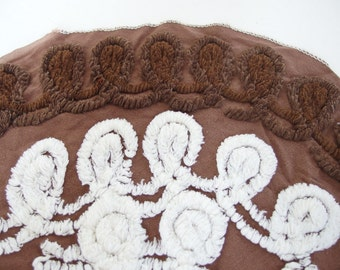 Vintage Brown Chenille with White Loops for Crafting
