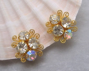 Rhinestone Earrings Vintage Jewelry X53