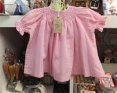 Beautiful vintage pink gingham smocked baby dress