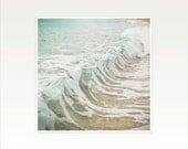 Surf Art, Ocean, Water Photography, Beach Decor, Waves, Bathroom Art, Blue Green, White, Aqua, Beige, Beach House Decor - Sea Foam