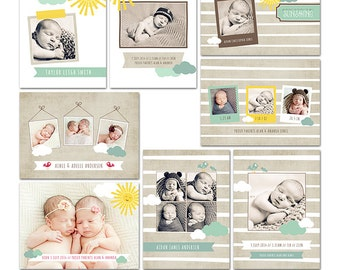 Sunshine Birth Announcement Collection - Easy Customization - 8 Files - Photoshop Templates for Photographers - CS0005