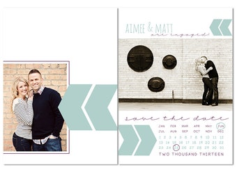 Chevron Save the Date Photoshop Template | for Professional Photographers and Photoshop Users | CS4002-1 | Instant Download!