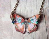 Butterfly Necklace  Pink, Peach, Apricot, Cornflower Blue Moth Pendant Gift Box