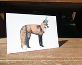 "Fox Birthday Card - 5x7"" with envelope"