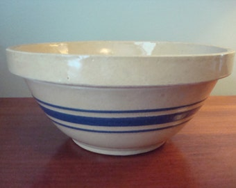 Nice vintage yellow ware pottery bowl with blue stripes