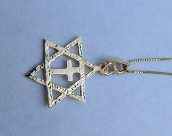 14K Gold filled Messianic Star of David with Cross Pendant Necklace, Interfaith Jewelry