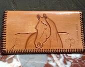 Hand tooled western wallet. Billfold.