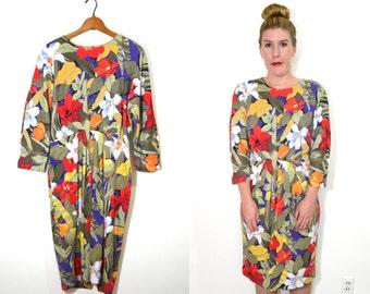 20 DOLLAR SUPER SALE! Tropical Maxi Dress - Long Floral Dress - Long Sleeve Dress