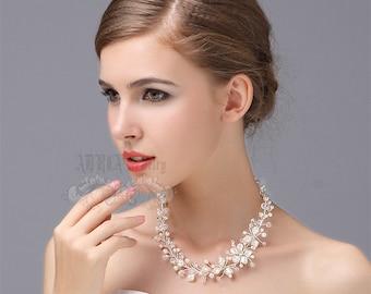 Wedding Necklace, Pearl Bridal Necklce Jewelry, Asymmetrical Ivory White Swarovski Pearl Floral Vine Silver Bridal Necklace Jewellery