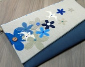 Blue, Turquoise, Taupe Clutch - Flower - Bird - Evening Bag - Purse - Detachable Chain - Zip - Pocket - Wedding - Party - Gift - Summer