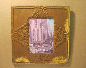 RECLAIMED Architectural Salvaged 5x7 Burnt Umber Tin Ceiling Picture Frame Square S1376-13